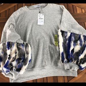 Zara Faux Fur Crew Neck Sweater NWT